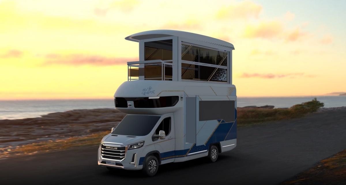 The mother of all RV's – This smart Chinese RV has a front balcony you can step into and an in-cabin elevator that will take you to its pop-up second-floor