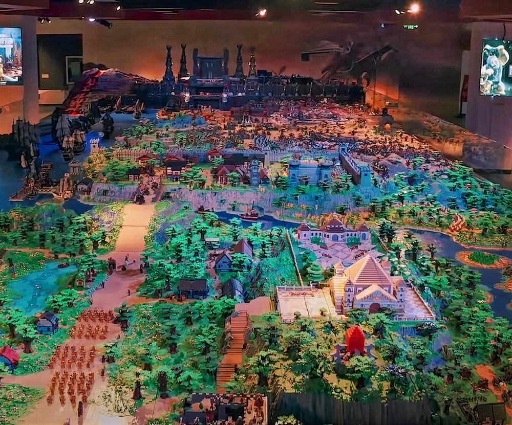 150 million pieces and 3 years in the making. A group of 50 designers have build the a massive Lord of the Rings inspired Lego set in China (the worlds largest)