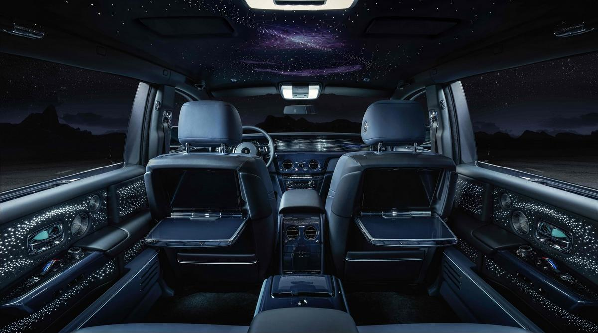 A champagne chest with a hand painted Pulsar and an Einstein quote engraved in the glove box – These limited edition latest Rolls Royce Phantoms are inspired by time and the infinite universe