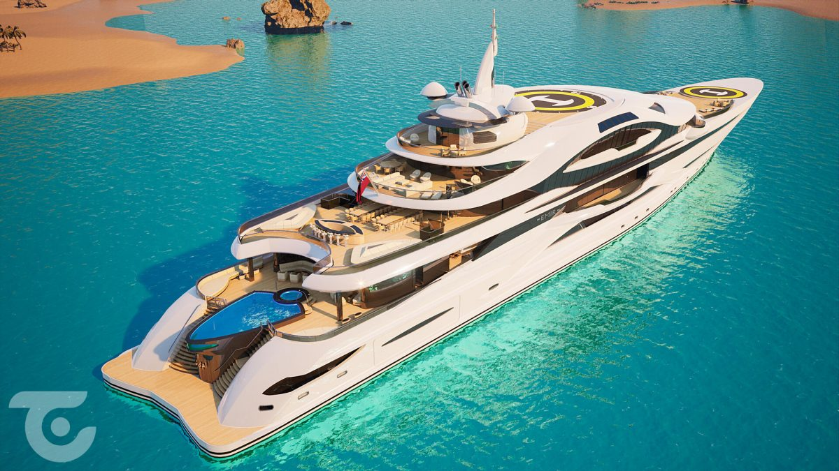 Glass elevators, two helipads, swimming pool, multi-level ballroom, and more – This ingenious 394-foot explorer yacht concept is fit for a billionaire