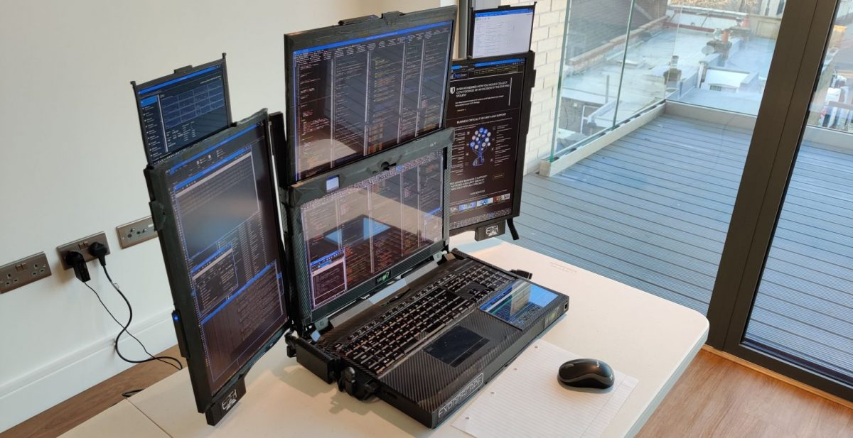 A stock trader's dream come true – This hyper-functional mobile workstation has 7 displays and will cost you $20,000
